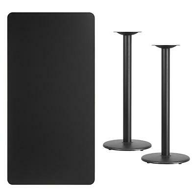 30 X 60 Rectangular Black Laminate Table Top With 18 Round Bar Height Base