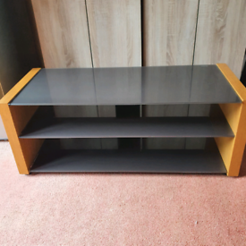 Large wood and grey glass TV table stand with 3 shelves