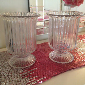2 matching Crystal vase/candle holders