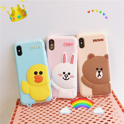 Korean Brown Bear Rabbit Hand Strap silicone Case cover for IPhone X XS Max 7 8+
