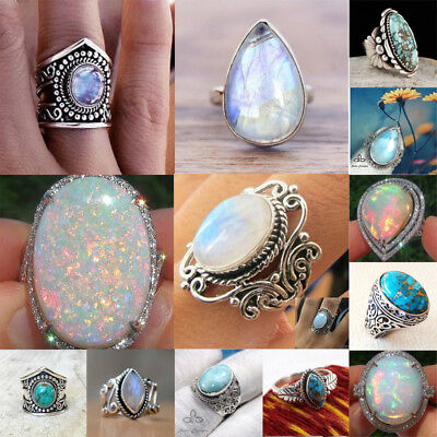 925 Silver Ring Woman Man White Fire Opal Moon Stone Wedding Engagement Size6 10