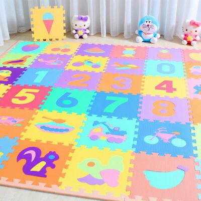 (10* Baby Soft EVA Foam Play Mat Alphabet Numbers Puzzle DIY Toy Floor Tile Games)