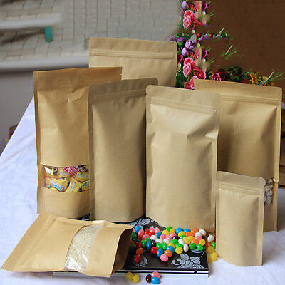 Food Gift Packaging - 5Pcs Kraft Paper Sealed Bag Standing Box Gift Candy Food Package Bag-8 Size