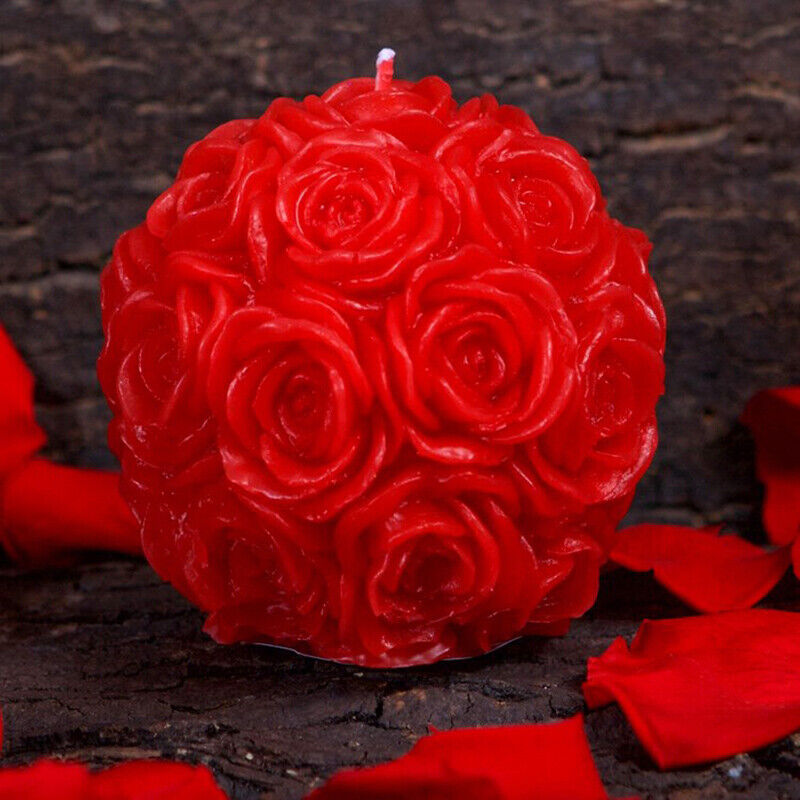 Silicone candle Mold 3D Rose Ball Shape Handmade Soap Mould Craft Resin Clay