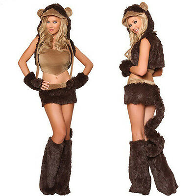 Monkey Costume Women (Sexy Woman Fuzzy Monkey Costume Halloween Wear Furry Cosplay Outfits Fancy)