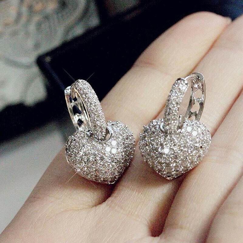 Gorgeous 925 Silver Jewelry Stud Earrings for Women White Sapphire Wedding Gift