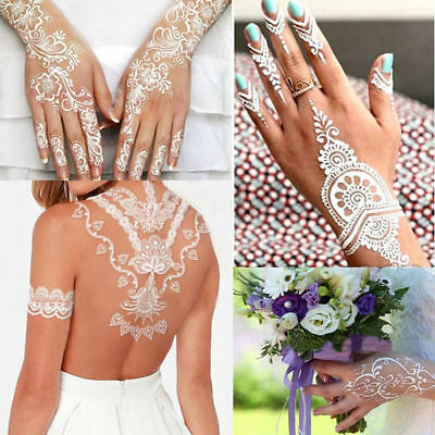 Lace Transfer White Henna Hand Arm Temporary Tattoo Sticker Diy