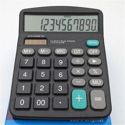 Solar Power 12 Digits Powered Battery Digit Calculator Desktop Large Buttons ♫
