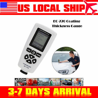 Ec-770 Portable Paint Film Coating Thickness Meter Tester Probe Gauge 0-51.2mils