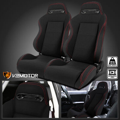 2X Red Stitch Black Cloth Reclinable Sports Bucket Racing Seats Left+Right
