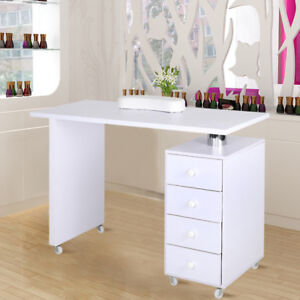 MOVING MANICURE NAIL ART TABLE BEAUTY TECHNICIAN DESK STATION STAND WITH DRAWERS