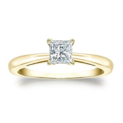 Classy 1/2 Cts F/VS1 Princess Cut GIA Certified Natural Diamond Ring In 18K Gold