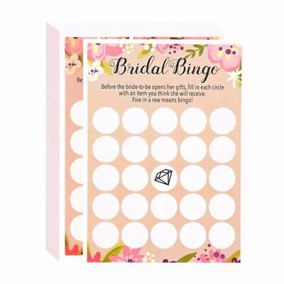 50 Floral Rustic Bridal Shower Wedding Game Cards Party Supplies -Bingo 5