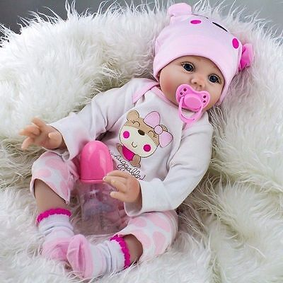 "22""Lifelike Newborn Silicone Vinyl Reborn Gift Baby Dolls Handmade Full Body US"