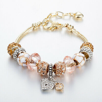 Champagne Gold (14K Champagne gold crystal heart love lock European & Pandora Charms)