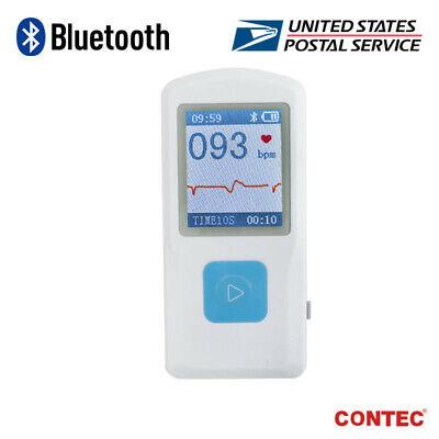 Contec Portable Ecg Monitor Bluetooth Usb Ekg Recorder Cardiac Machine Color Lcd