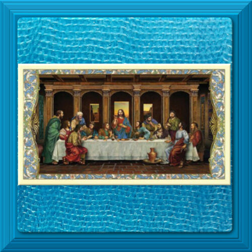 LAMINATED Holy Card GILDED GOLD Last Supper The Apostles Creed ROSARY Prayer