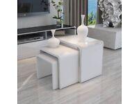 MODERN DESIGN WHITE HIGH GLOSS NEST OF 3 COFFEE TABLE/SIDE TABLE LIVING ROOM