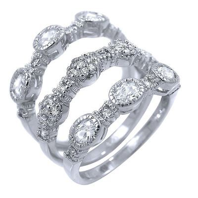 - Stackable CZ 3 Piece Ring Set Sterling Silver Cubic Zirconia Semi Eternity