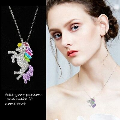 925 Silver Crystal Unicorn Necklace Pendant Valentine's Day Gifts For Women Girl - Unicorn Necklace