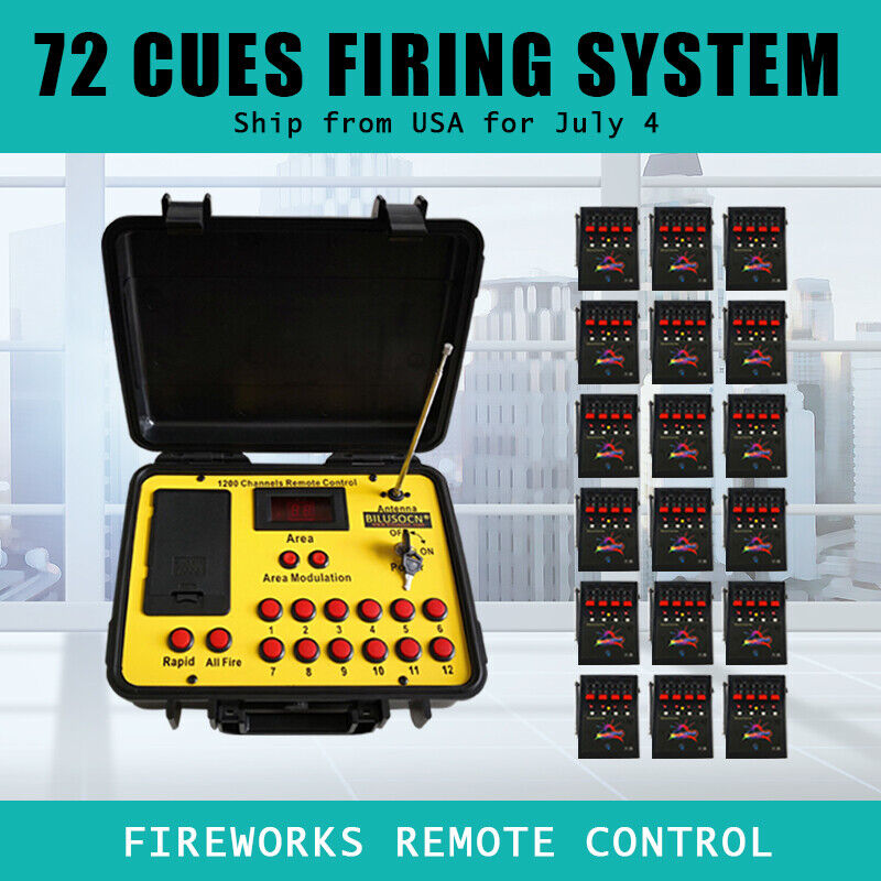 Free ship 72 Cues  fireworks firing system Remote control 500M Long distance
