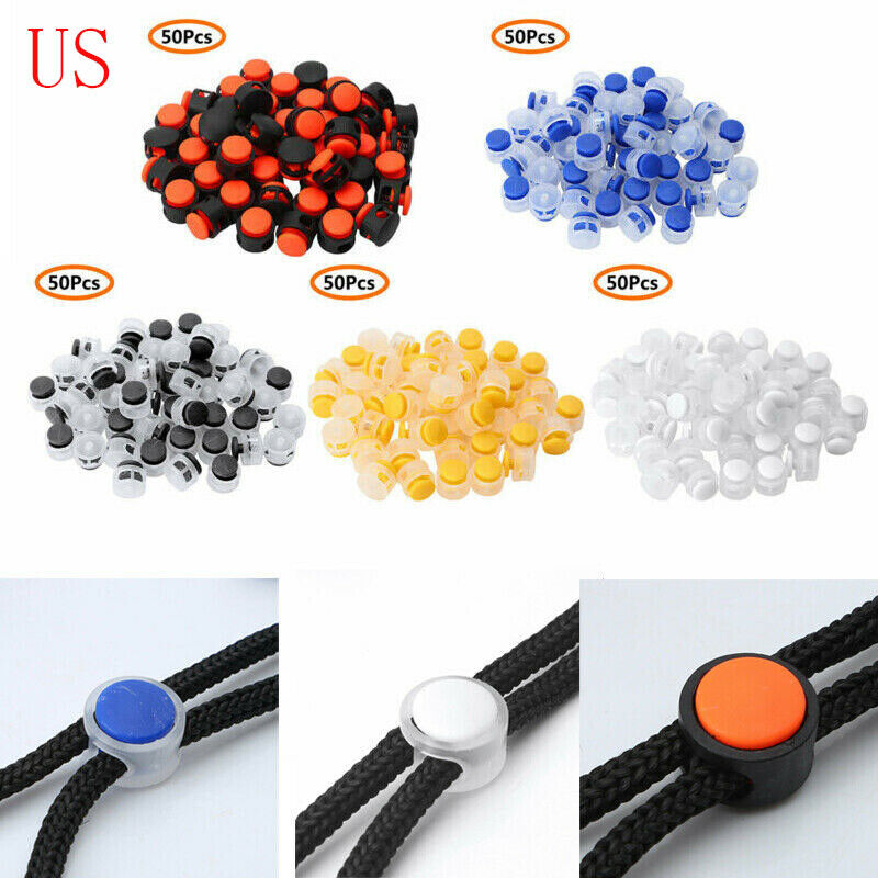 50 Plastic Toggle 2 Holes Spring Elastic Drawstring Rope Cord Lock Ends Stopper