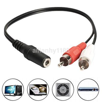 3.5mm Y Adapter Audio Cable Stereo Female Mini Jack to 2 RCA...