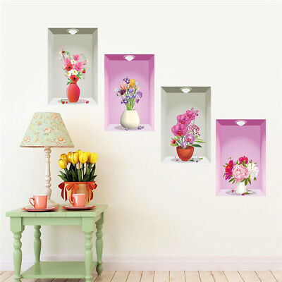 Home Decoration - 3D Flowerpots Orchid Room Home Decor Removable Wall Stickers Decals Decoration