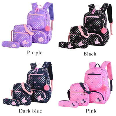 3Pcs Girl Backpack School Bags Women Shoulder Bag Rucksack C