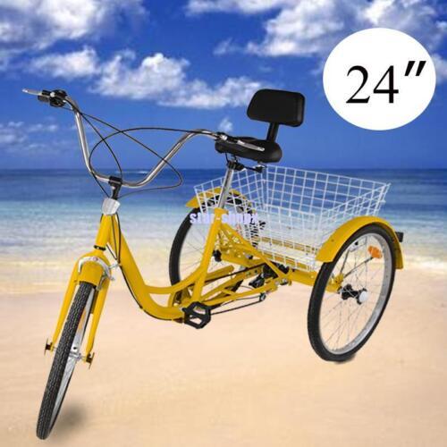 "Ridgeyard 26/"" Unisex Adult Tricycle 7 Speed Bicycle Trike Bike Cruiser Backrest"