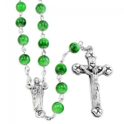 NEW MADE IN ITALY GREEN GLASS SAINT ST JUDE ROSARY PATRON OF DESPERATE SITUATION