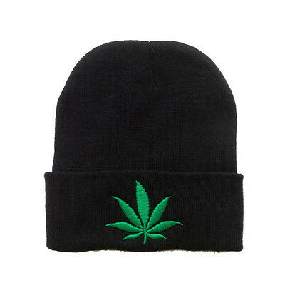 Black Rasta Marijuana Weed Leaf Beanie Cap Winter Warm Ski Skull Cap Hat  Cuffed b2b3232299f3