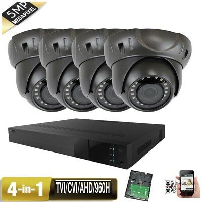 4Channel 5-in-1 DVR 5MP 4-in-1 CVI AHD 960H CCTV Camera System 24IR IP66 USB