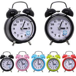 Twin Bell Alarm Clock Silent  Metal Alarm Clock Bedside Night light