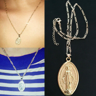 - Women Religious Jewelry Virgin Mary Medallion Pendant Necklace Gold Silver 1PC