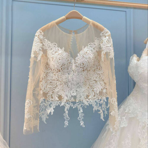 Champagne Wedding Jackets Bridal Bolero Lace Wraps Long Sleeve Top Vintage Shawl