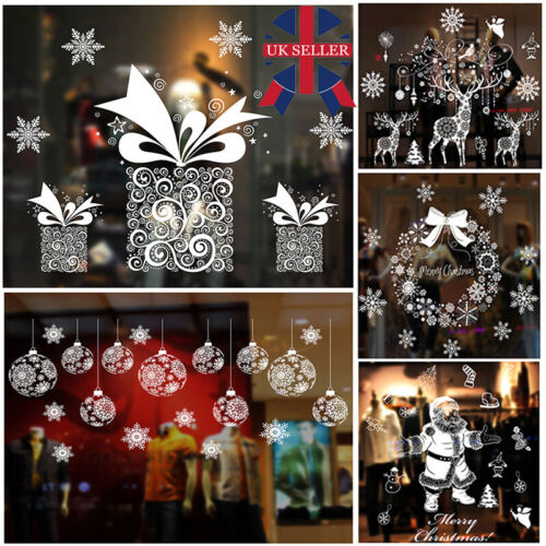 Home Decoration - Christmas Xmas Santa Removable Window Stickers Art Decal Wall Home Shop Decor T