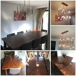 Kitchen Dining Harvest Farmhouse Table + J. Adler Chandelier