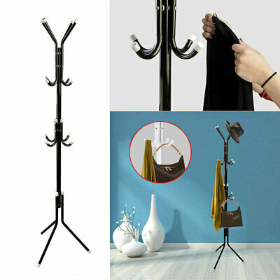Metal Organizer Coat Rack Hat Bag Stand Tree Clothes Umbrella 12 Hooks 3-Tiers