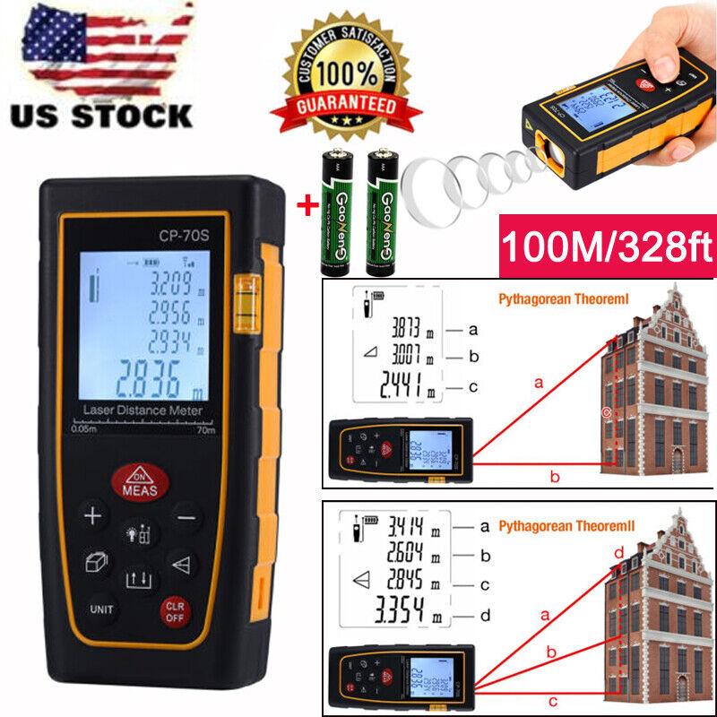 High accuracy 100M/328ft Digital LCD Laser Distance Meter Range Finder Measure