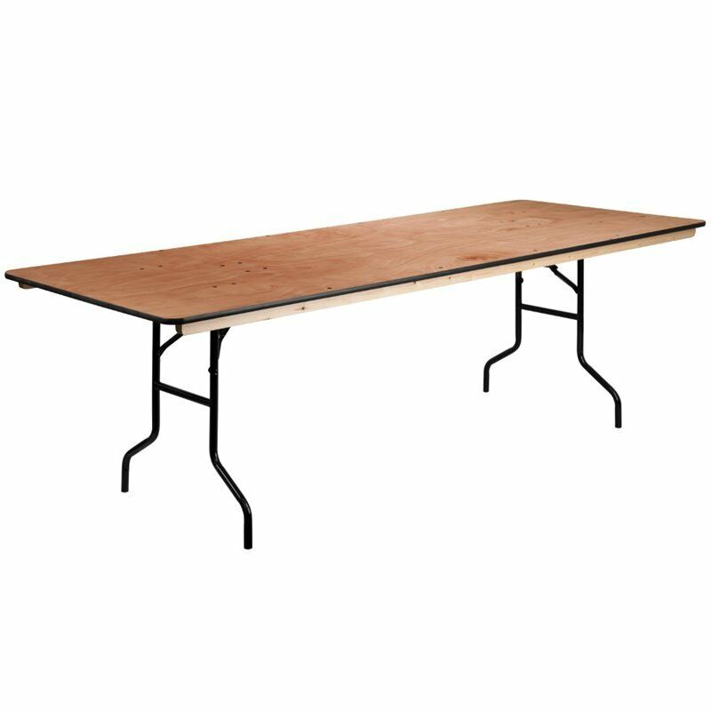 """Bowery Hill 36"""" x 96"""" Wood Folding Table in Natural"""