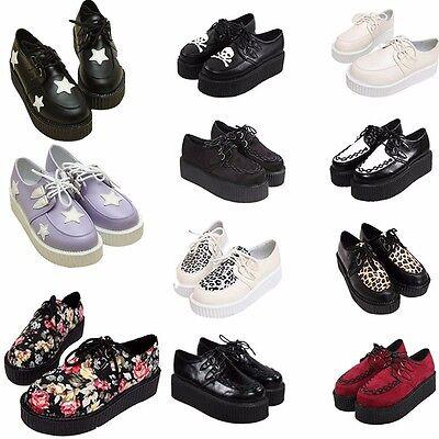 Women Punk Lace UP Platform Creeper Vintage Goth High Platform Floral Flat Shoes