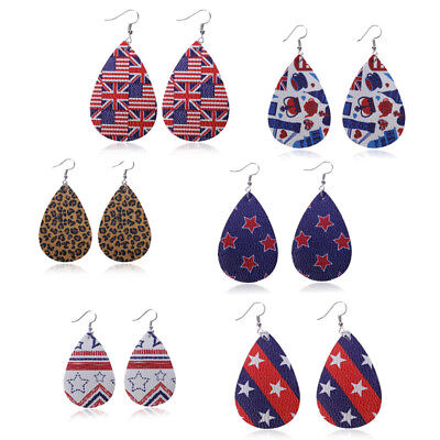 Drop-shaped Leather Ear Drop American Flag Dangle Earring Leopard Print Earring American Pearl Earrings