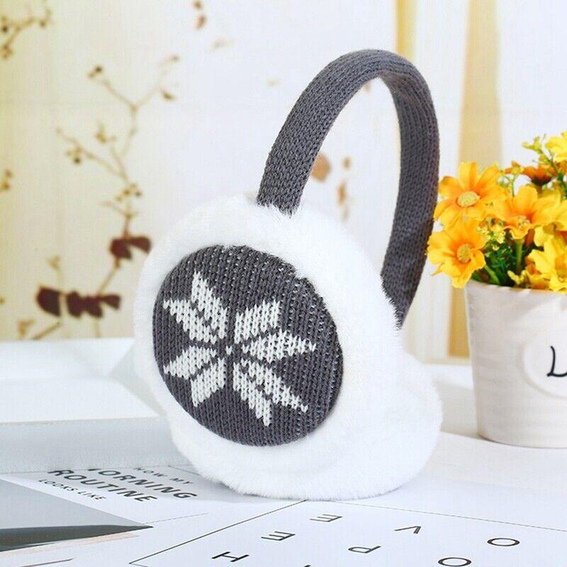 Snowflakes Fawn Winter Warm Knit Earmuffs Adjustable Ear Warmer Earlap Muffs