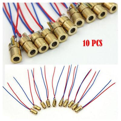 10pcs5 Volt 5mw Laser Dot Diode Module Head Wl Red Mini 650nm 6mm Copper Head Us