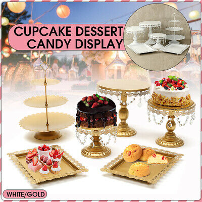 6PCS Wedding Cake Stand Crystal Decor Metal Cupcake Holder w/ Crystal Plates - Decorative Cupcake Holders