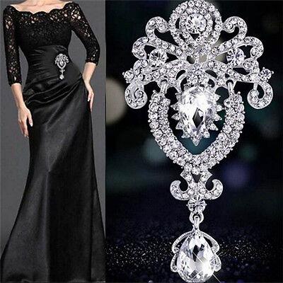 (Large Flower Bridal Brooch Rhinestone Crystal Diamante Wedding Broach Pin SY)
