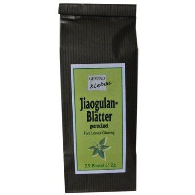 (15,-€/100 g) Jiaogulan Blätter im Teebeutel, 25x2g, Wildwuchs v. Gesund & Leben