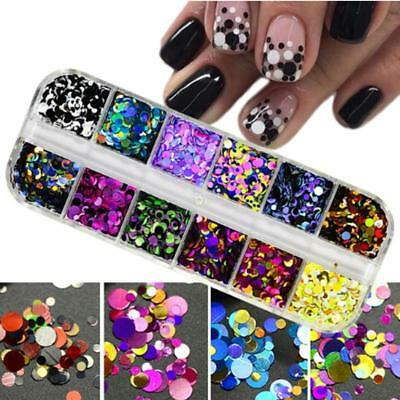 Round Glitter Paillette Dot Shape Mini Sequins Confetti Loose Nail Art 3D Neon A