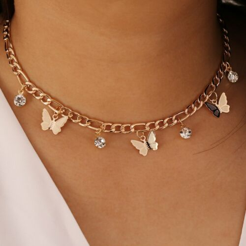 Jewellery - Butterfly Crystal Choker Pendant Necklace Drop Gold Clavicle Chain Women Gift